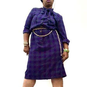 Vintage Purple Plaid Print Pussy Bow Dress Sz 1X
